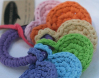 pastel handheld rainbow, crocheted key ring toy for baby made from upcycled t-shirts by yourmomdesigns