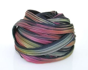 1/2 yd Shibori Girls Hand Dyed Silk Ribbon Midnight Boreralis Shibori Silk Ribbon