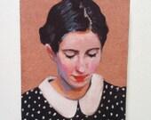 Rimma  / Tiny canvas print  -  canvas art print -  dots  -Portrait painting -Print of Original acrylic painting- wall hanging