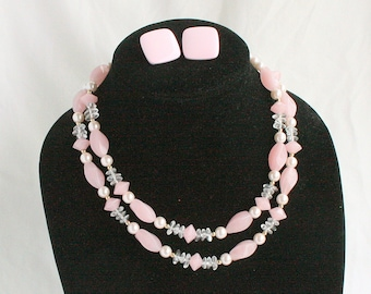 Pink Glass Necklace Earrings Set Vintage Multi Strand Satin Glass Necklace Pink Metal Pierced Earrings Multistrand