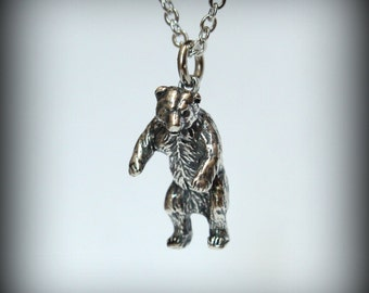 Little Silver Bear Necklace Standing Bear Pendant Necklace Mama Bear Charm 125