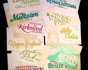 Atlanta Neighborhood Letterpress Postcards-- individual various postcard designs