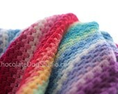 Blanket pattern beginner crochet, afghan, rainbow Granny Stripe Blanket