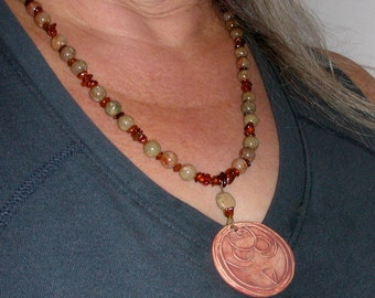 Goddess Earth Mother Clay Pendant on Necklace of Amber Chips and Autumn Jasper Beads