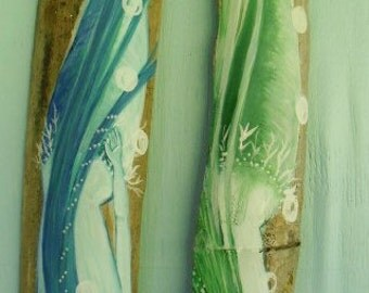 tWO dIVING fantasy mERMAIDS-Hand Painted on Recycled Drift wood- Beach Decor- Coastal Decor