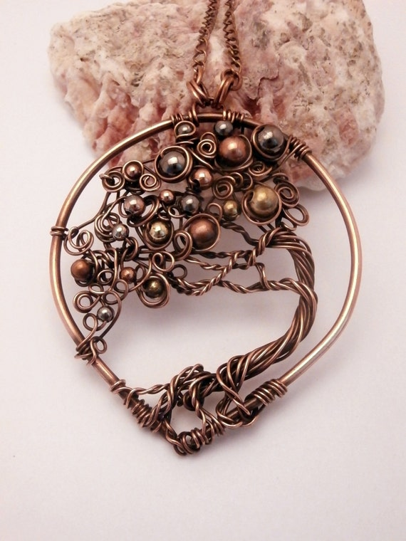 Wire Wrapped Bonsai Tree Of Life Pendant Necklace Mix Metal