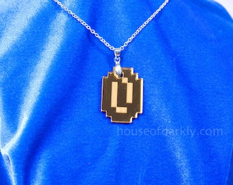 8bit Gold Coin necklace original geek bling for retro gamers in mirror acrylic