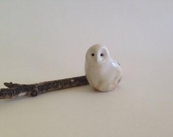 Barn owl, snow owl, owl, ceramic animal, by CreationM