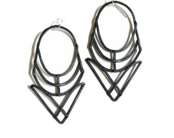 Geometric Earrings - Hathor Design - Black Finish - handmade jewelry - Art Deco and Prairie school revival - handmade in Austin, Tx