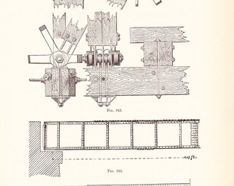 1892 Technical Drawing - Antique Math Geometric Mechanical Drafting Interior Design Blueprint Art Illustration Framing 100 Years Old