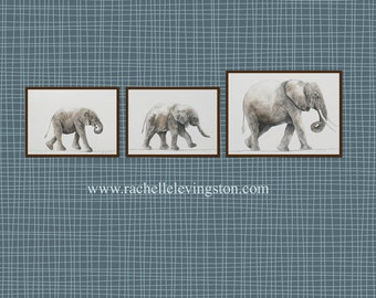 ORIGINAL painting watercolor painting original Watercolor paintings animal painting Elephant painting THREE SET nursery art boy african gray