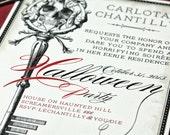 Halloween invitation, Halloween Invite, Halloween Party, Printable Invitations, Skeleton Key, Skull