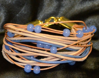 Upcycled Tan and Blue, Leather, Beads and Bullet Casing Bracelet