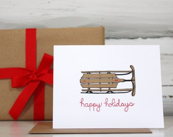 Holiday card set Vintage Wooden Sled illustration