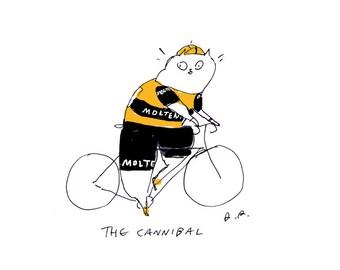 Eddy Merckx- Bike Art- Tour De France- The Cannibal- Cat Art Print- Cycling- Wall Art- Illustration