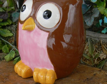 OWL Bank  Ceramic  Glazed Pink and Brown   hootie Owl  ...Owlet baby girl shower Nursery hoot