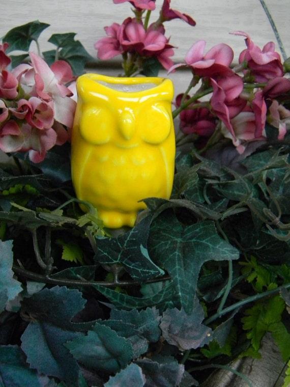 OWL  Water Tender watering stake- Water Globe   Vintage style Bright Sunshine Yellow