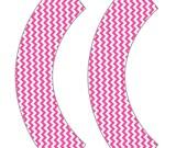 Medium Pink Chevron Cupcake Wrapper