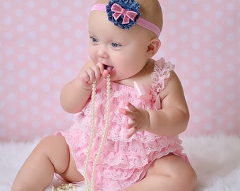 Denim Vintage Shabby Flower Pink Sequin Bow Baby Toddler Pink Headband photo prop