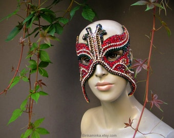 Art Mask Crystal Butterfly Mask Red Emerald
