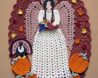 PDF Crochet Pattern- Angel of Thanksgiving Doily