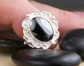 Hematite Sterling Silver Cocktail Ring Size 5.25  Free US Shipping
