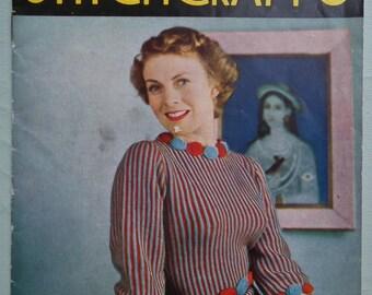 Vintage 40s Stitchcraft  May 1949 Knitting Sewing Magazine original 1940s knitting patterns women's sweaters cardigans girl's beach sunsuit