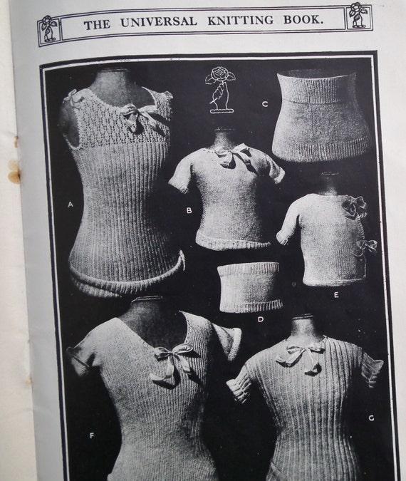 Antique 1920s Knitting Book - Paton's Universal Knitting Book 6th Edn 1923 - 20s original patterns - underwear lingerie shawls etc