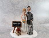 Cake Topper - Custom Handmade Police Officer & Teacher Wedding