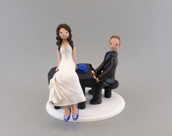 Cake Toppers - Bride and Groom With a Piano Custom Wedding Cake Topper