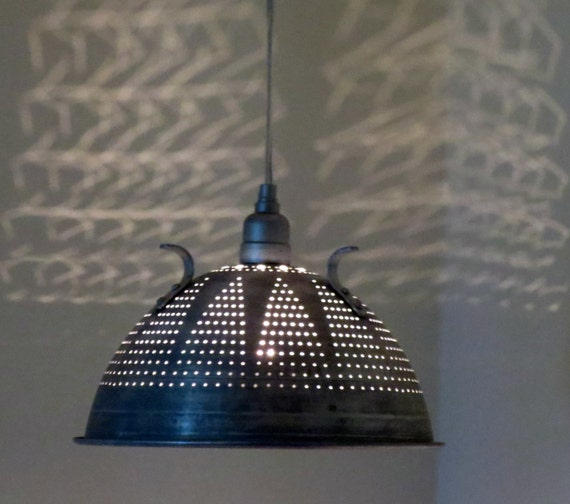 Industrial Lace colander pendant light - plug in or hard wire