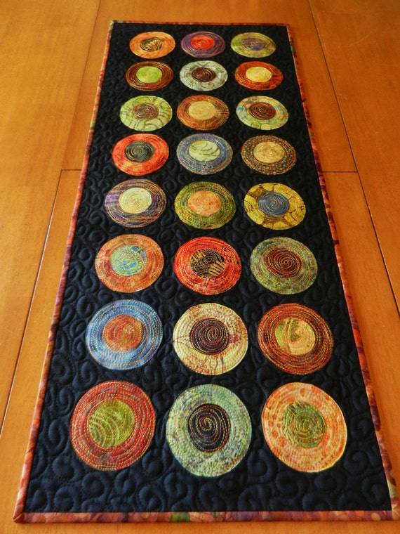 Modern Table Runner - Batik Circle Table Runner - Quilted Table Runner - art for your table, also makes a great wall hanging (made to order)