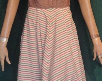 Sweet Vintage 40s Brown Striped Side Zip Short Sleeved Dress B34 Margo Walters
