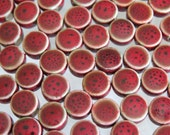8x5mm (2mm hole) Opaque Antiqued Red Handmade Glazed Porcelain Coin Beads - Qty 20 (E206)