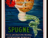 Mermaid Hugging Sponge - Vintage Italian Ad Poster 1915 - Giclee Print - Cottage Wall Art