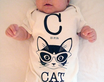 Natural C is for Cat Short Sleeve Onesie Organic Cotton
