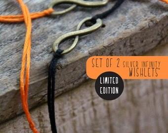 set of two orange and black halloween infinity bracelets bronze wish bracelet friendship bracelet wishlet letterhappy etsy halloween jewelry