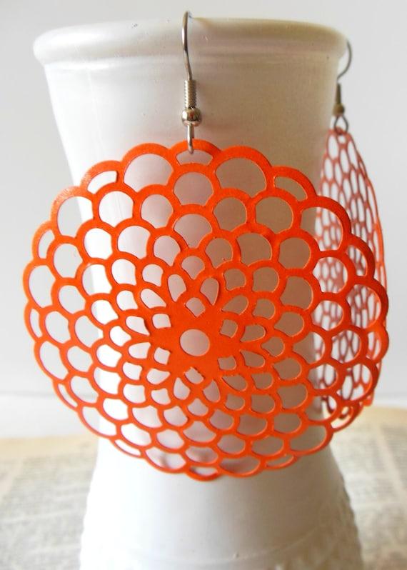 Large Orange Chrysanthemum Earrings,Statement Earrings, Metal Filigree Boho Earrings, Hippie Chic Earrings