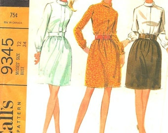 1960s Sewing Pattern - 1960s Dress Pattern - Classic 60s Dress Pattern - Shirt Dress Pattern - Madmen Dress Pattern - McCalls 9345 - Bust 34