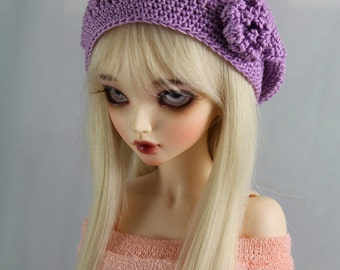 Lavender Crochet hat for MSD BJD, 1/4 Dollfie, Minifee