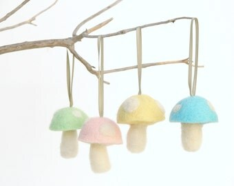 Toadstool Decorations . Pastel Colors . Spring Home Decor . Needle Felted Wool . Woodland, Waldorf Ornaments . Nursery Decorating . Baby