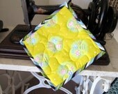 SALE Easter Eggs Insulbrite Quilted Potholder:  ready to ship, handmade, hostess gift, chevrons yellow