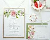 SAMPLE - Vintage Watercolor Rose Garland Wedding Invitation