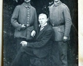 Early 1900s Antique Photograph of Two Soldiers.and a Man Seated - WW1 / WW2 / World War