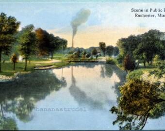 Early 1900s Postcard. Scene in Public Park. Rochester, Minnesotta