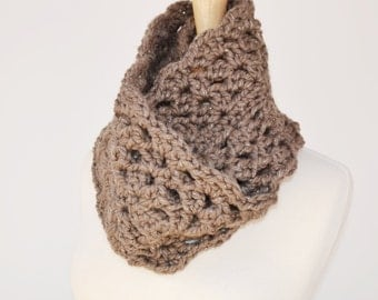 Crochet Infinity Scarf Taupe Sparkle Cowl Scarf, Womens Scarves