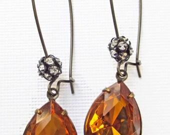 November Birthstone Golden Topaz Earrings Autumn Victorian Jewelry Vintage Wedding COVET Golden Topaz