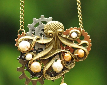 Steampunk Brass Octopus with Freshwater Pearls and Gears