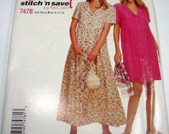 Dress Pattern Size 8,10,12,14 McCalls 7478 Uncut Stitch N Save Dress Romper Pattern