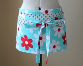 Gardener and Craft Half Apron - Red, White, and Aqua Floral